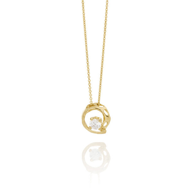 Sign Fire and Ice Silver Necklace Gold Plated